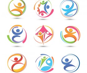 Set of Colored Abstract logo design elements vector 04