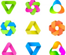 Set of Colored Abstract logo design elements vector 05