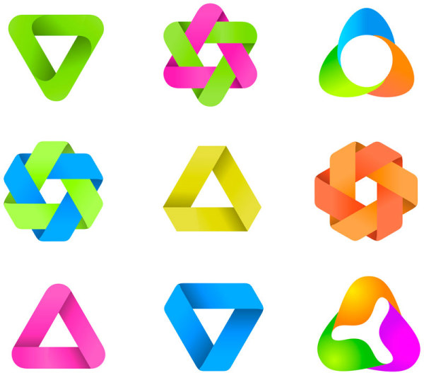 Set of Colored Abstract logo design elements vector 05 - Vector ...