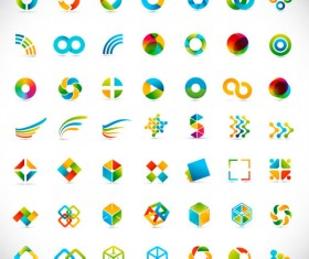 Set of Colored Abstract logo design elements vector 06