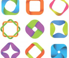 Set of Colored Abstract logo design elements vector 07