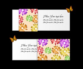 Vector set of flowers business card design 02