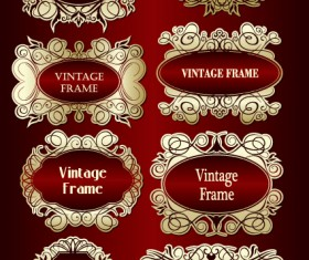 Set of vintage gold frame design vector 02