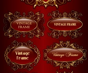 Set of vintage gold frame design vector 03