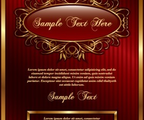 Set of vintage gold frame design vector 04