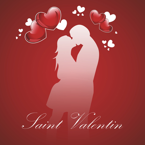 Romantic Love background with Valentine vector 02
