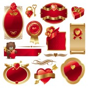 Link toGold and red valentine day labels vector
