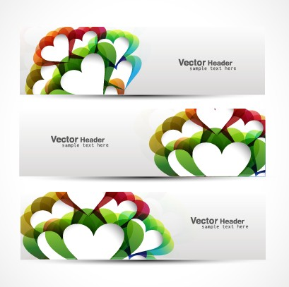 Vector heard of modern banner design elements 03
