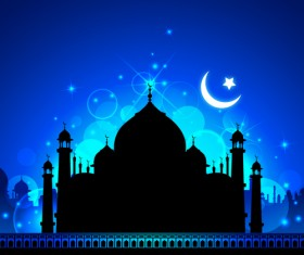 Mosque night backgrounds vector 01
