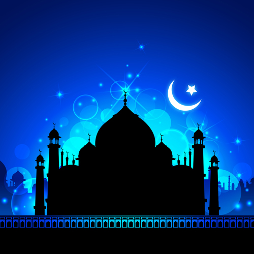 Mosque night backgrounds vector 01 - Vector Background free download
