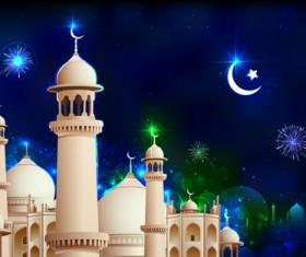 Mosque night backgrounds vector 02