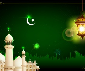 Mosque night backgrounds vector 03
