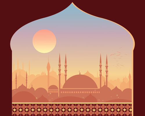 Free EPS file Mosque night backgrounds vector 05 download