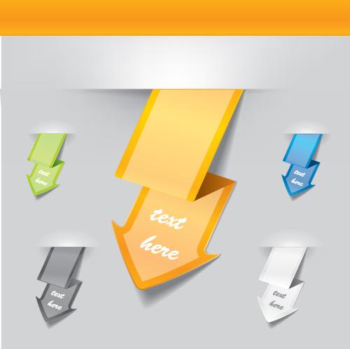 Vector set of origami arrow design material 05
