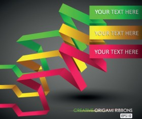 Colorful origami ribbons design vector graphics 01