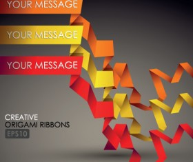 Colorful origami ribbons design vector graphics 02