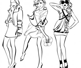 Set of Fashion girl pencil sketch vector 01