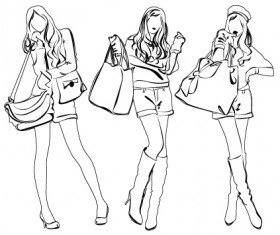 Set of Fashion girl pencil sketch vector 02