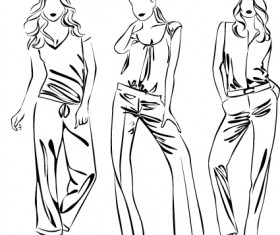 Set of Fashion girl pencil sketch vector 04