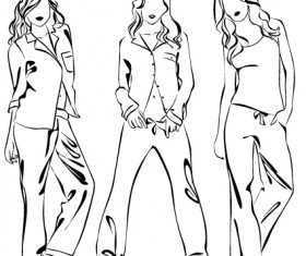 Set of Fashion girl pencil sketch vector 05