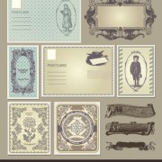 Link toSet of vintage post cards elements vector 01
