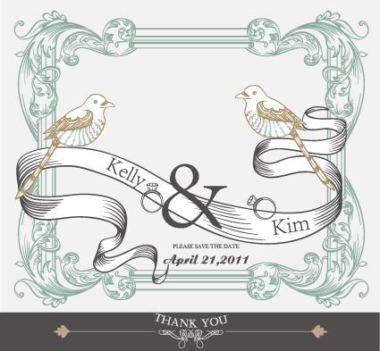Set of wedding card design elements vector 01 Vector Card free – Wedding Card Design Template Free Download