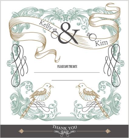 Set of wedding card design elements vector 03 Vector Card free – Wedding Card Design Template Free Download