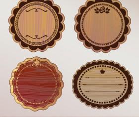 Vector set of Wooden labels elements 01