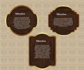 Vector set of Wooden labels elements 02