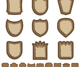 Vector set of Wooden labels elements 03