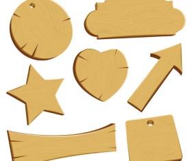 Vector set of Wooden labels elements 05