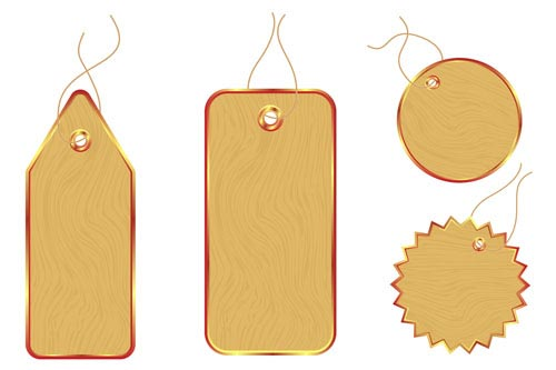 Vector Set Of Wooden Labels Elements 10 - Vector Label Free Download