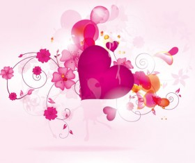 Abstract flower and heart Valentine vector graphic