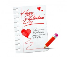 Handwriting with paper Happy Valentine elements vector