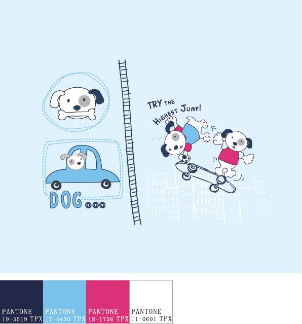 Funny cartoon dog vector material 02