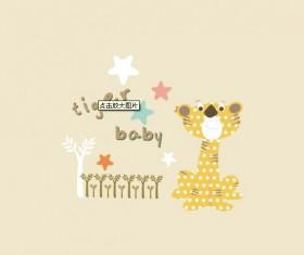 Cartoon tiger baby card vector
