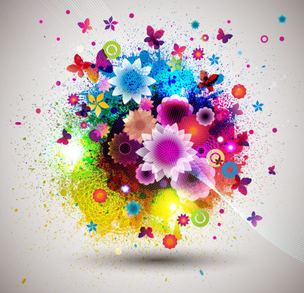 Abstract Flowers Creative Vector 01 Free Download
