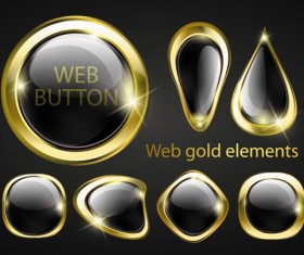 golden glow Web Buttons elements vector 01