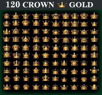 120 kind golden crown vector free download