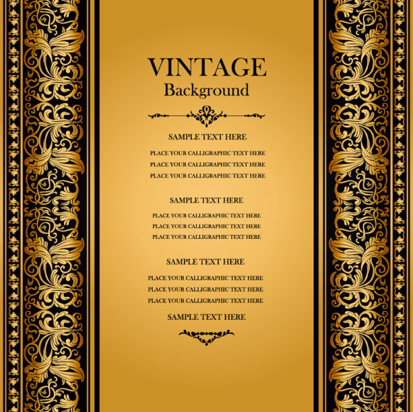 Vintage background with floral vector 04 vector background free