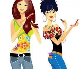 Stylish cartoon characters 02 vector