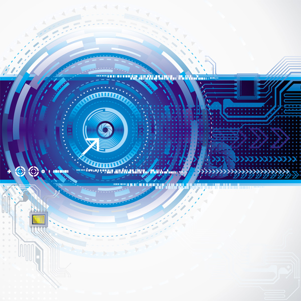 Blue Technology elements vector background