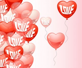 Heart-shaped Balloon design vector 02