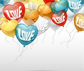 Heart-shaped Balloon design vector 03