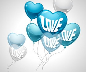 Heart-shaped Balloon design vector 04