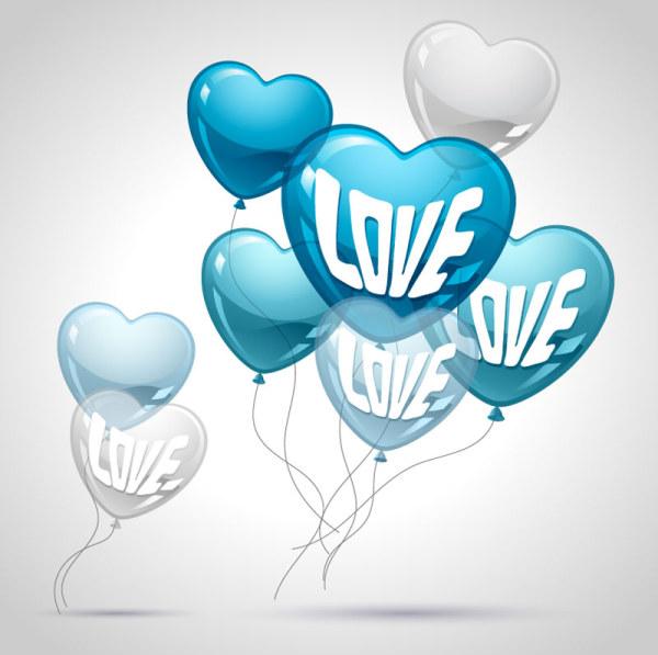 Heart shaped Balloon design vector 04