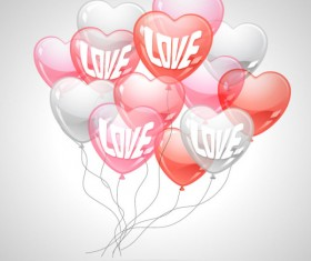Heart-shaped Balloon design vector 05
