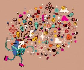 Funny cartoon Robot design vector