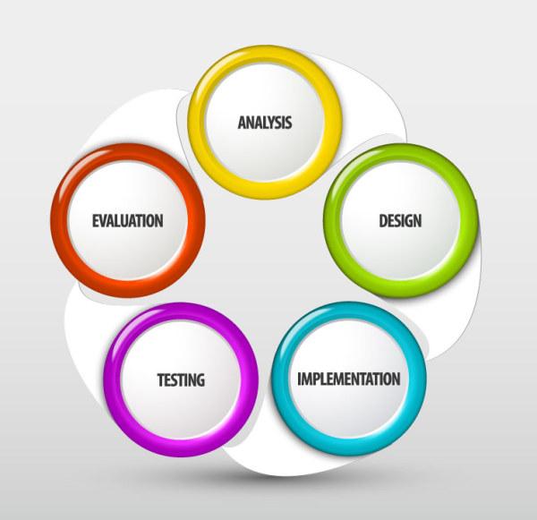 Multicolor circular label vector