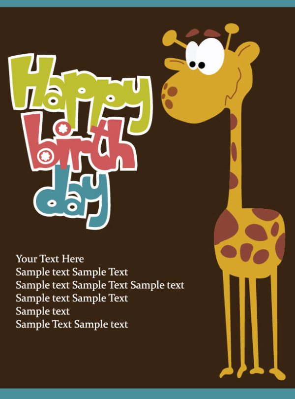 Cartoon Happy birthday postcard vector 02